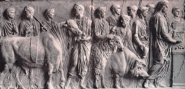 Suovetaurilia: Roman sacrifice in which a pig, a sheep, and a bull were sacrificed. The image, PD photgraph of an ancient Roman relief belong to public domain as recorded in Wikipedia, The Free Enciclopedya.