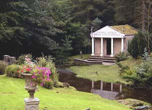 A reconstruction of a temple at Vindolanda